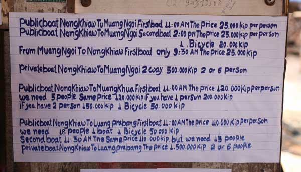 Prices out of Nong Khiaw as of January 2013