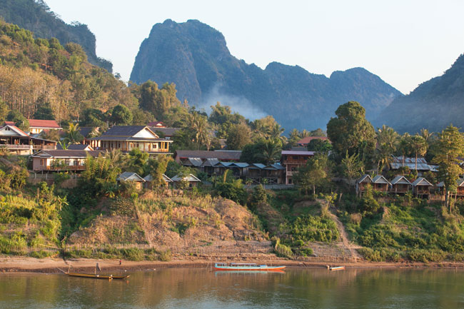 Bungalows on the east bank of Nong Khiaw