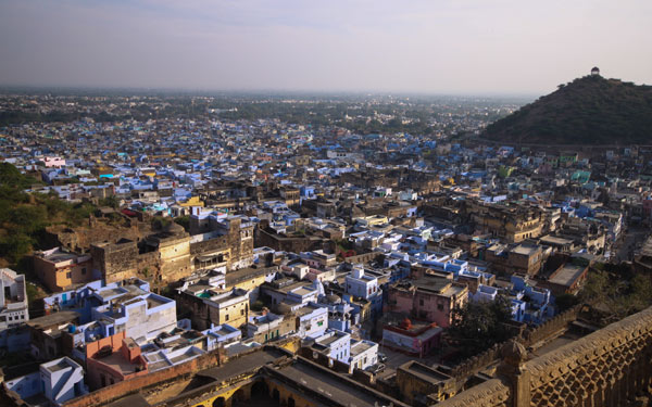 Views over the blue city of Bundi