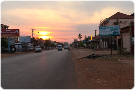 The final stretch into Pakse as the sun was coming down
