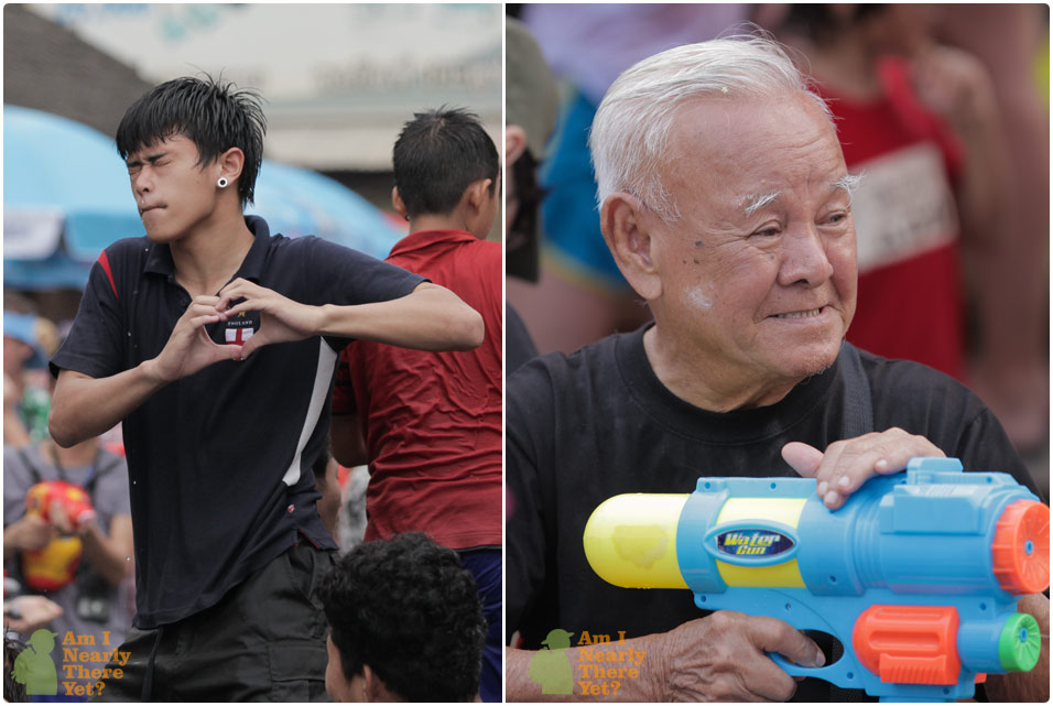 Young and old getting fully involved with Songkran!
