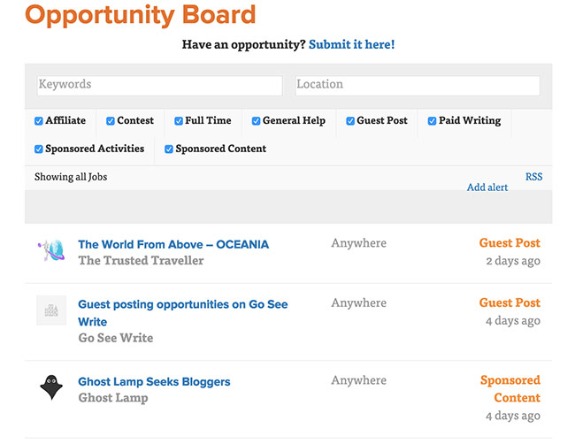 Travel Blog Success Opportunity Board