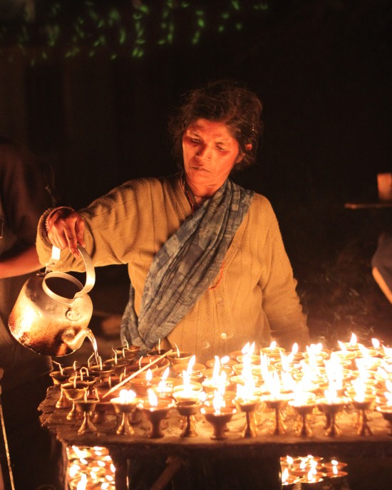 Lunar eclipse Bodhnath - Butter lamps