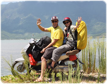 Me and Stu on our motorbike adventure in Vietnam!