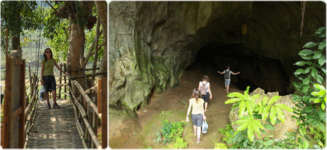 The bamboo bridge to Cave View and entrance to Tham Kang Cave