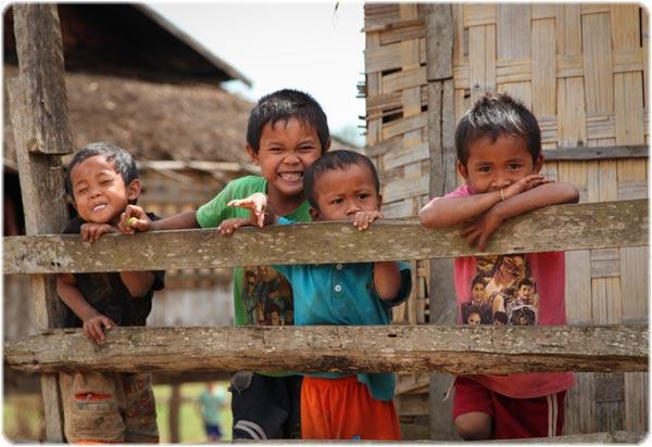 Cheeky boys in Ban Houay Lanong