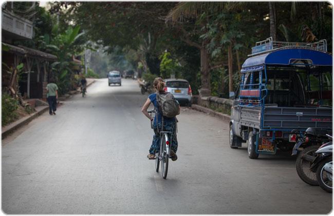 Cycling alongside the Nam Khan River