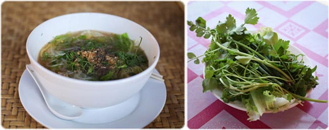 Lao noodle soup with fresh greens