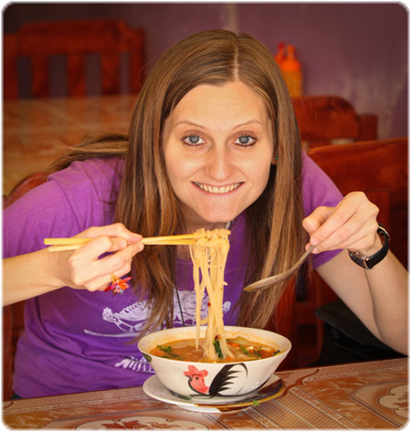 Yummy noodles in Laos!