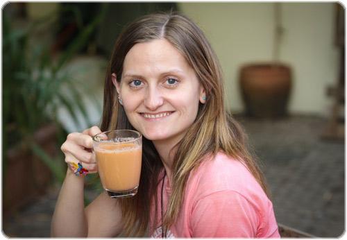 Enjoying a soya milk 'Chai'!