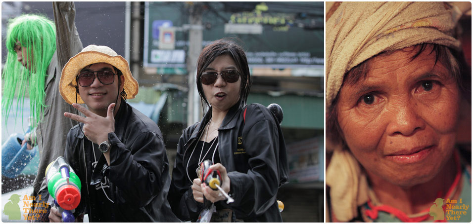 Culture clash! Young Chiang Mai'ers and a tribal women selling bracelets to drunk falangs
