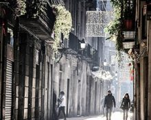 cobbled streets in Barcelona