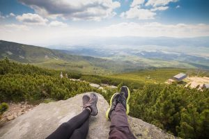 Hikers enjoy view of mountains
