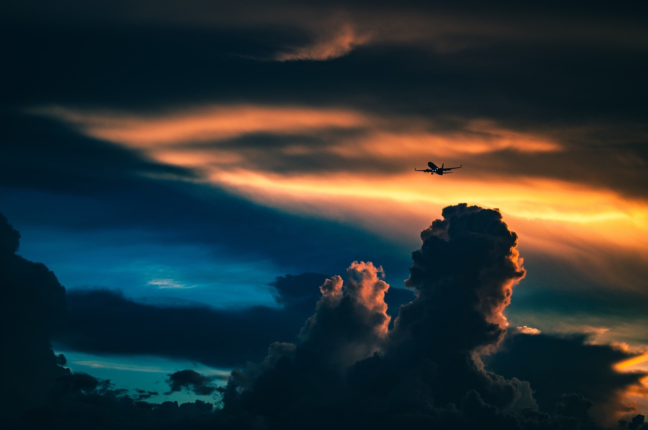 aeroplane in the clouds