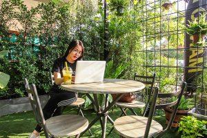 woman working alone
